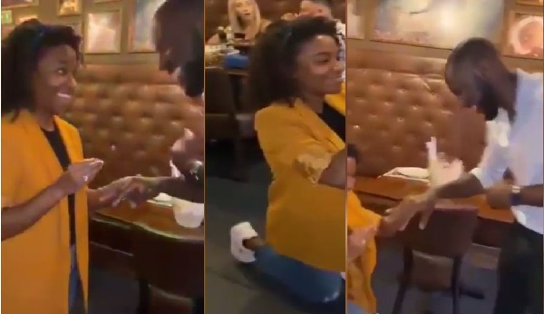 Lady Sparks Surprise As She Kneels And Proposes To Her Man In Public(Video)