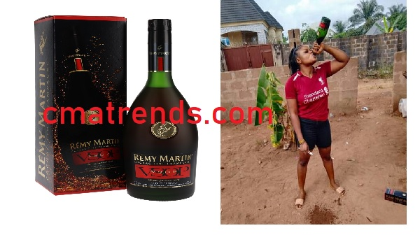 Sense/Nonsense? Nigerian Lady promises not to brush with water for the rest of the year but with a bottle of N28K Remy Martin VSOP