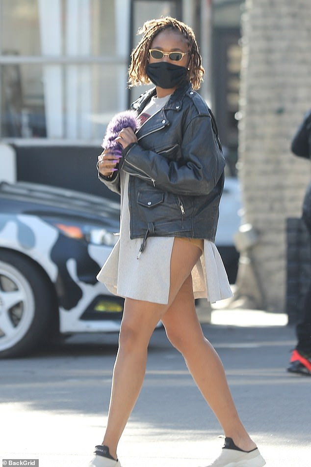 Jennifer Hudson shows off her legs in split-side longline tee and leather jacket in Beverly Hills