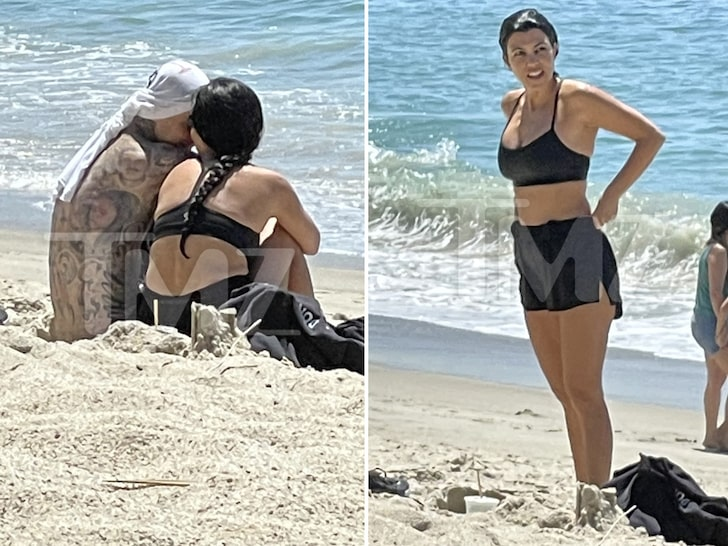 Kourtney Kardashian and Travis Barker Snuggle Up on Beach Dates