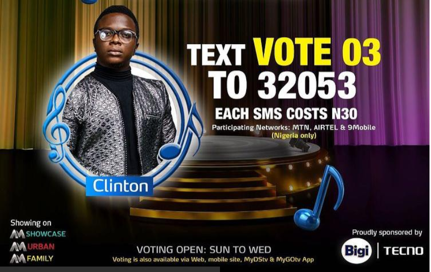 How to CLINTON Nigerian Idol Season 6 (2021)   SMS Voting Code, Website and MyGOTV and DSTV App