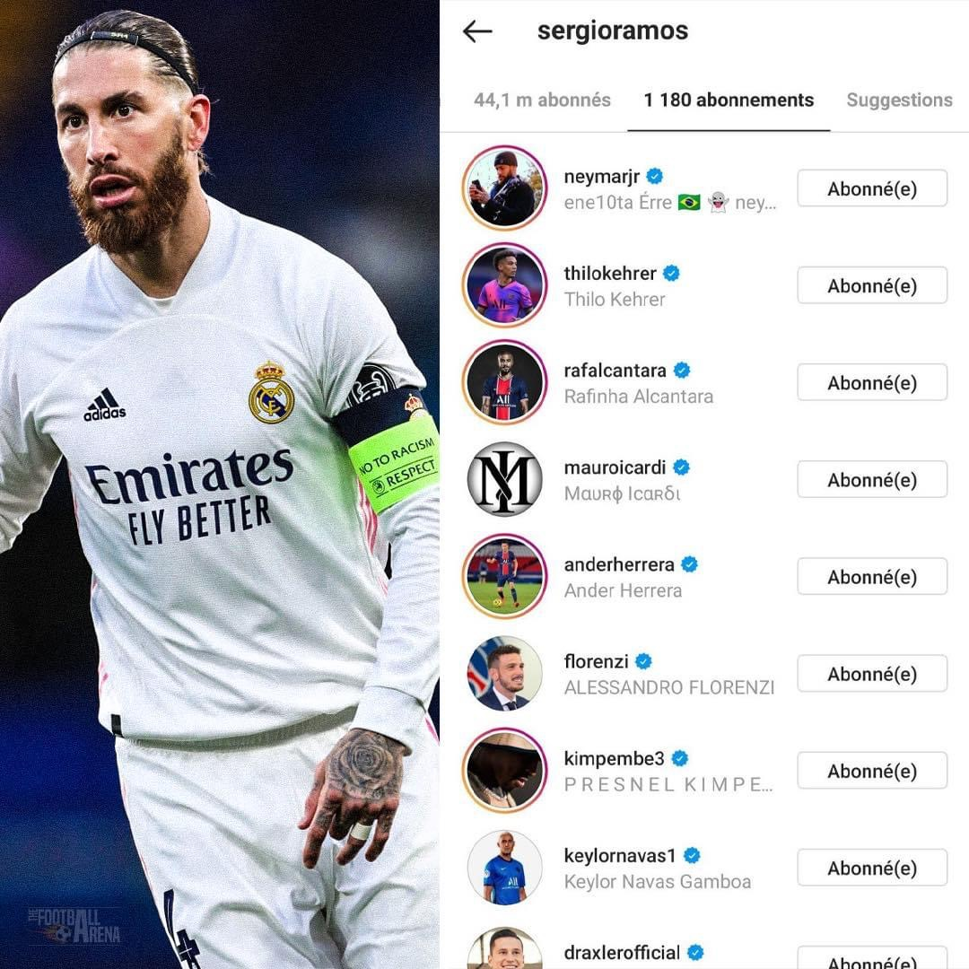 Sergio Ramos Started Following Many PSG Players On Instagram In The Last Few Hours