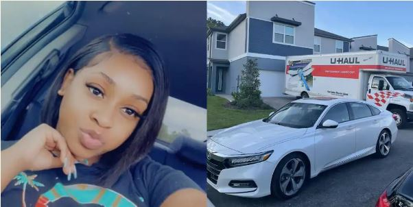 Young Lady Excited As She Buys Her Own Expensive Car and House (Photo)