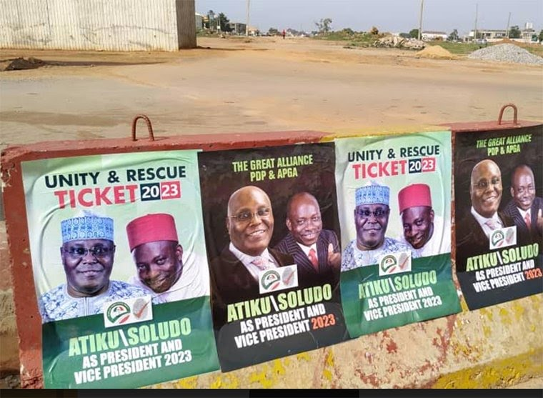 Atiku And Soludo's Campaign Posters Spotted In Abuja (Photo)