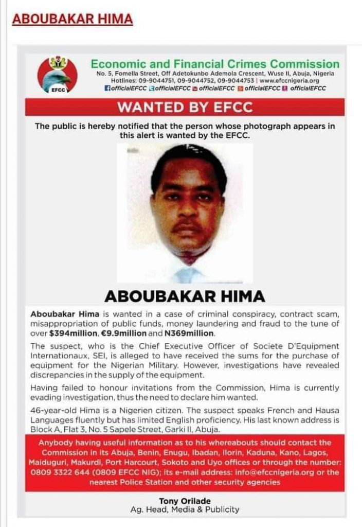Nigerien Who Ran Away With N206bn Nigerian Arms Money Wanted By EFCC