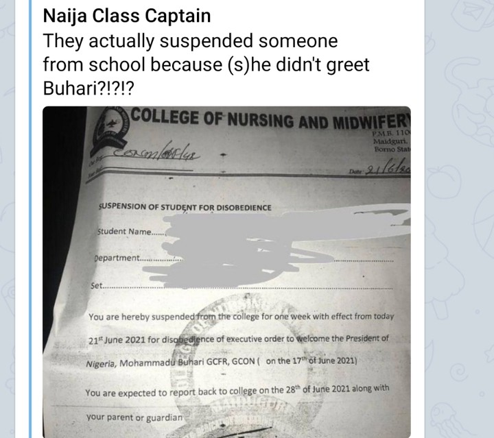 Nursing Student Suspended In Borno For Not Welcoming Buhari