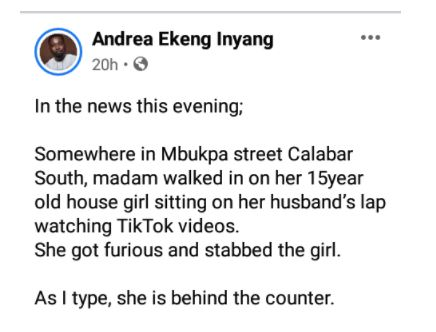 Woman Allegedly Stabs Her 15-year-old Housemaid After She Saw Her Sitting On Husband's Lap