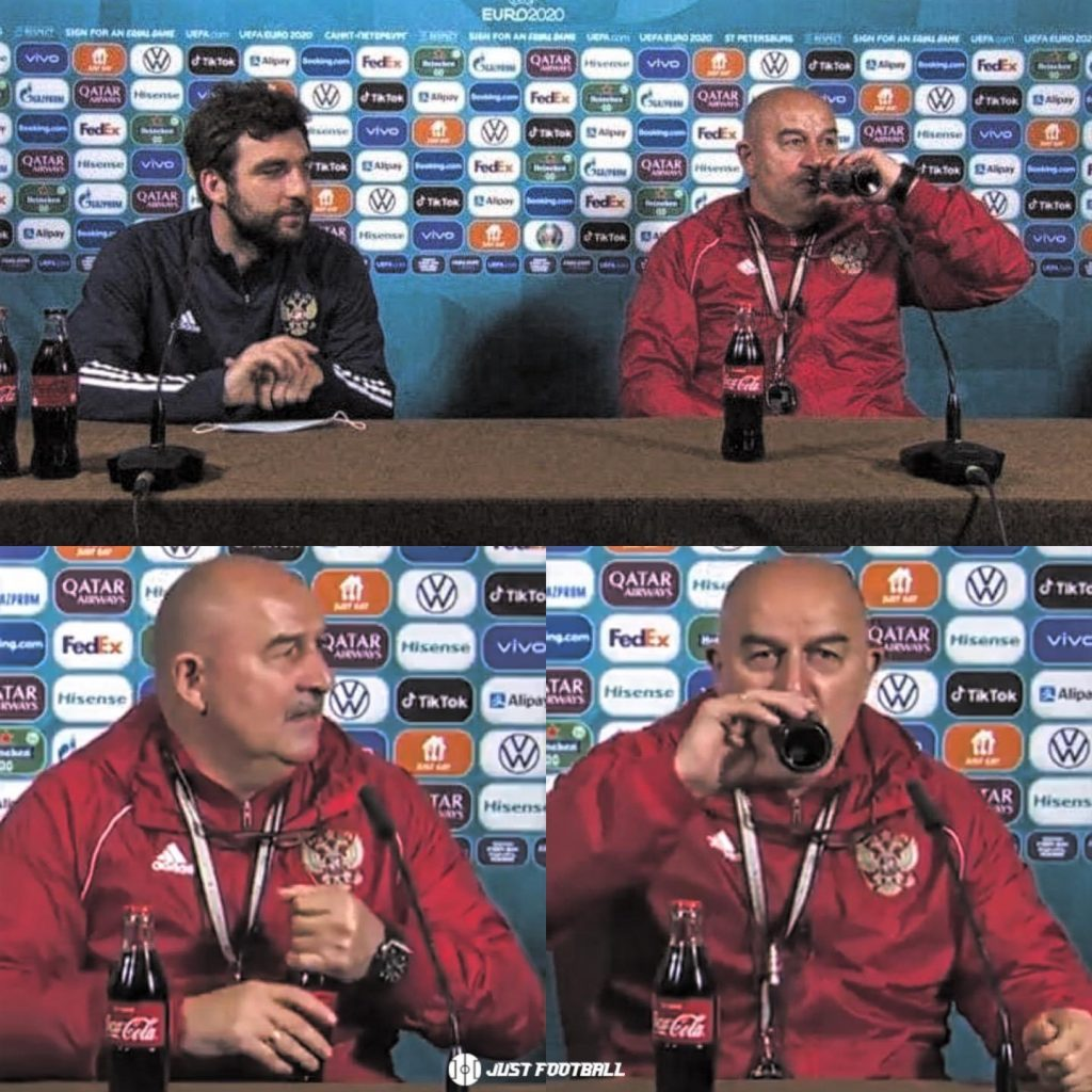 How Cherchesov Responded TO Cristiano Ronaldo Removing The Coca Cola Bottle From The Table