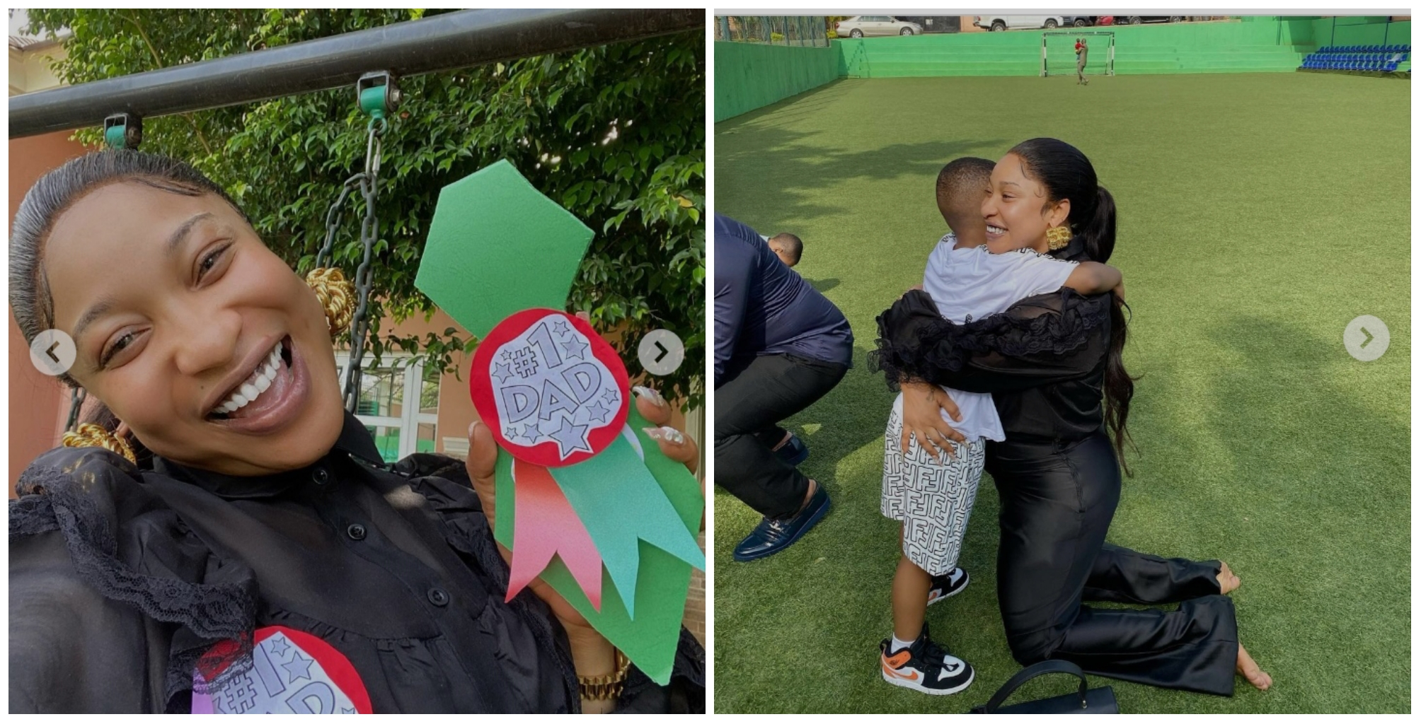 """""""Mama de Papa"""" – Tonto Dikeh all smiles as she stops by at her son's school on Father's day"""