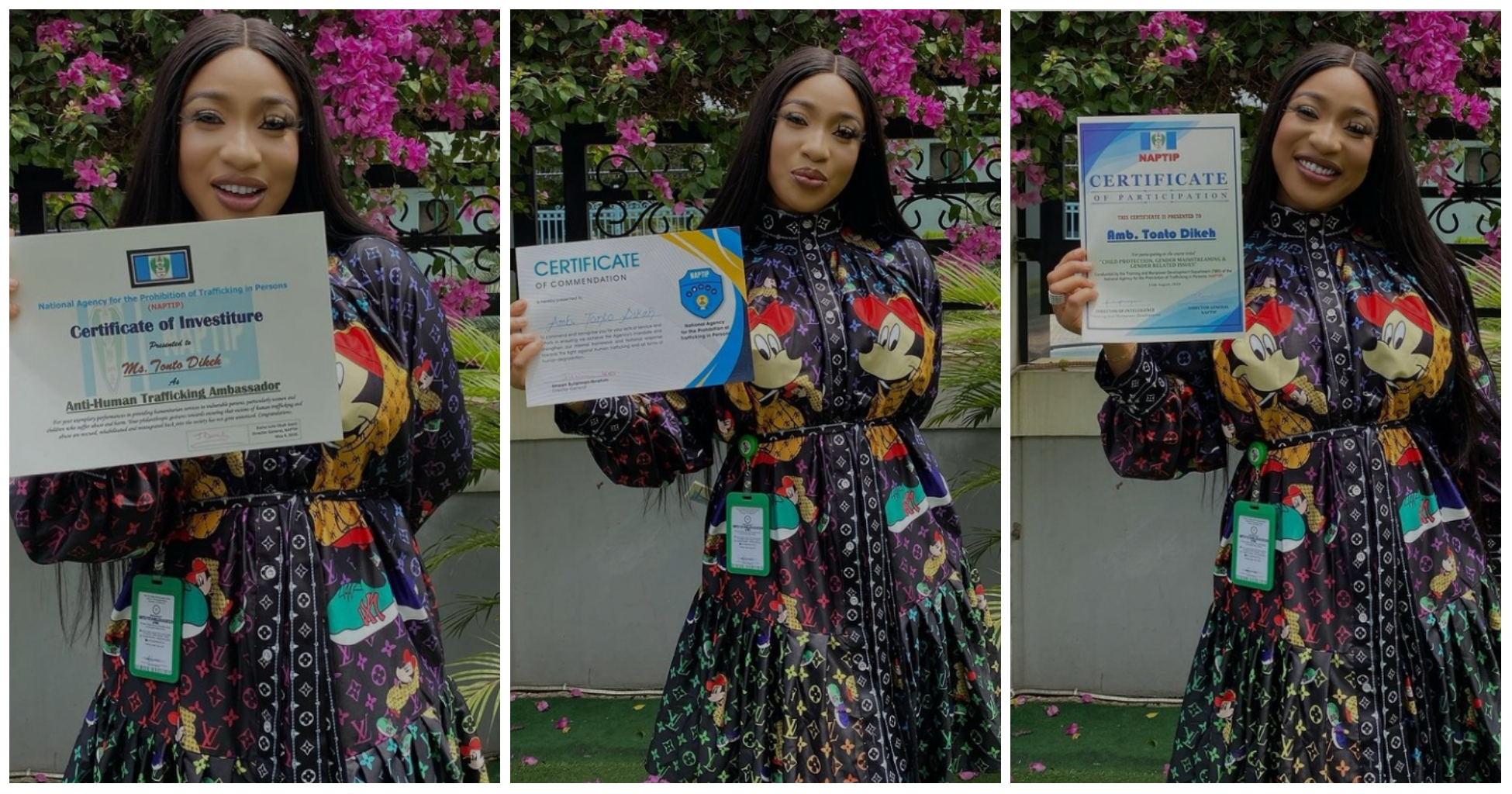 """""""I promise not to relent in my efforts"""" – Tonto Dikeh says as she gets awarded by NAPTIP"""