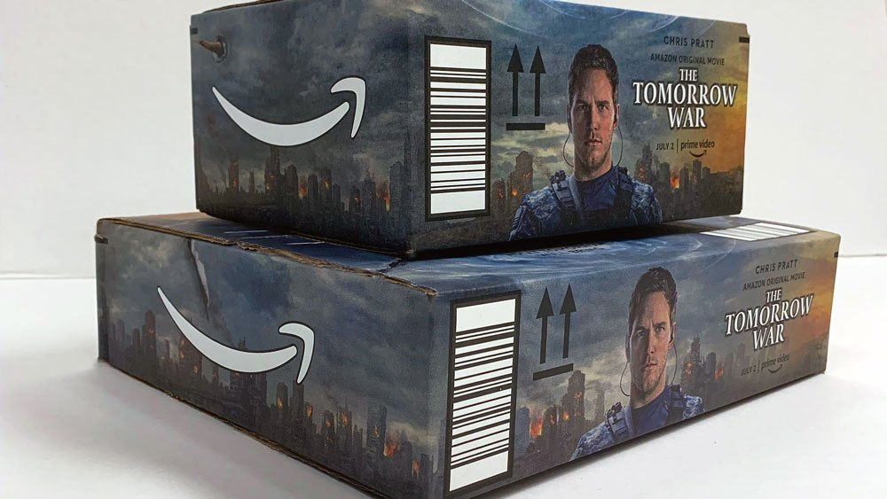 The Tomorrow War Being Promoted by Amazon on Shipping Boxes