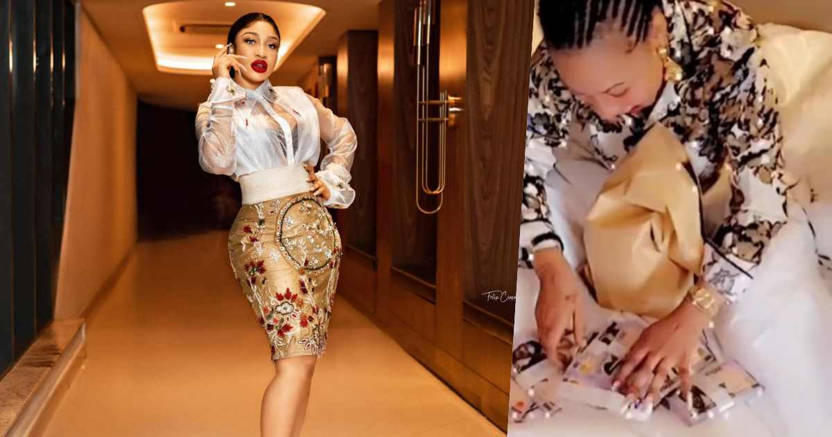 Actress, Tonto Dikeh gets cash gift of N2M for her birthday (Video)