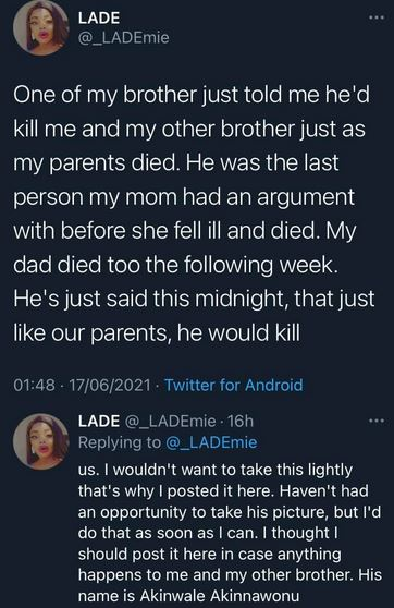 """""""The Police Asked Me To Run For My Life"""" – Lady Cries Out After Filing Complaint Over Brother's Alleged Threat To Her Life"""