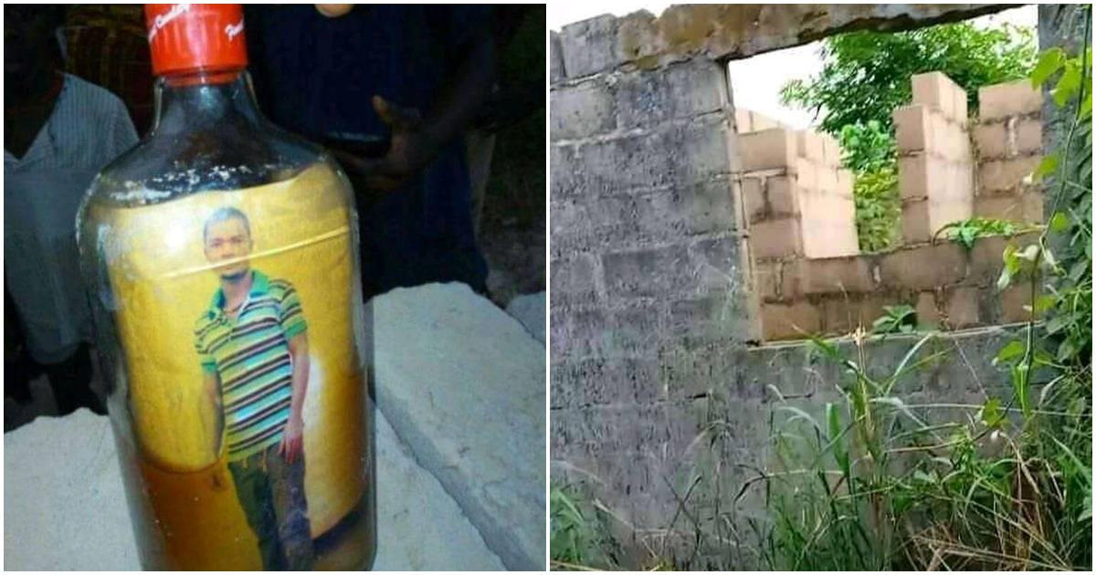 Old photo of Turkey-based Nigerian man found inside a bottle buried in his uncompleted building
