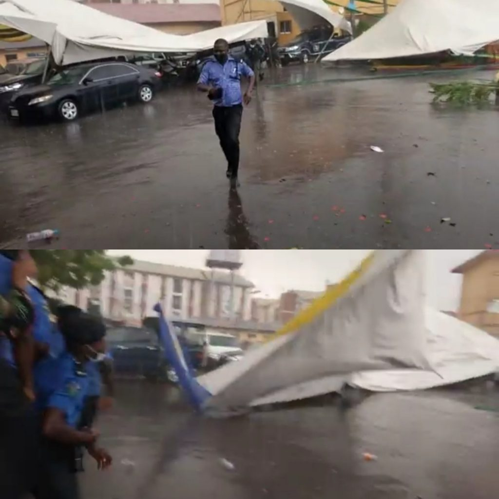 Officers, Guests Run For Safety As Heavy Wind Disrupts Reception Organized For Police IG's Visit To Lagos