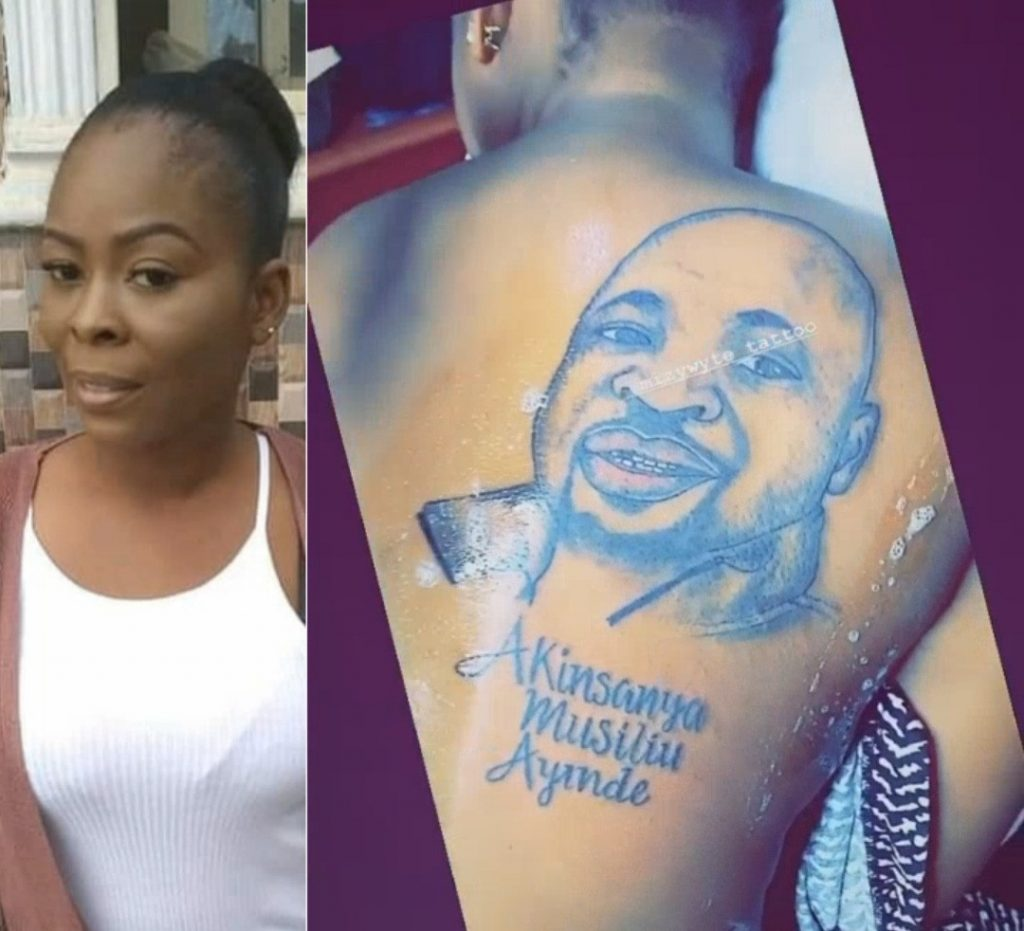 Lady Tattoos MC Oluomo's Face On Her Back