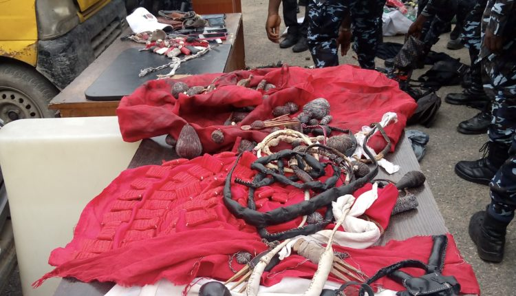 Police Recover Arms, Charms From Yoruba Nation Lagos Rally Protesters (Photo)