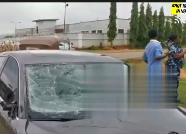 Man Cries Out As Cow Destroys His New Car While The Fulani Herdsmen Look On