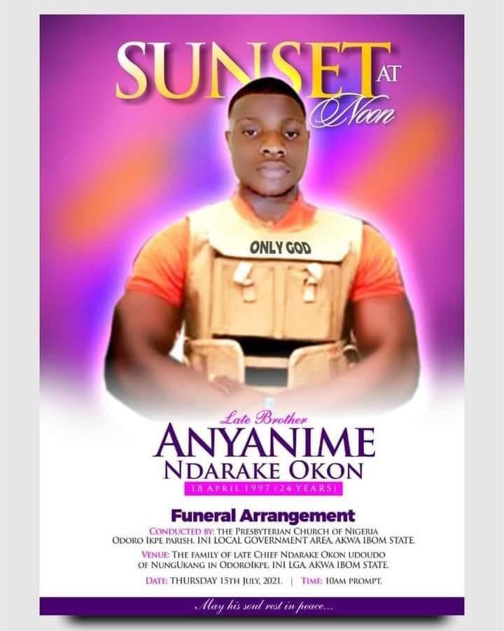 Obituary Of A Private Security Guard Killed By Armed Robbers In Uyo