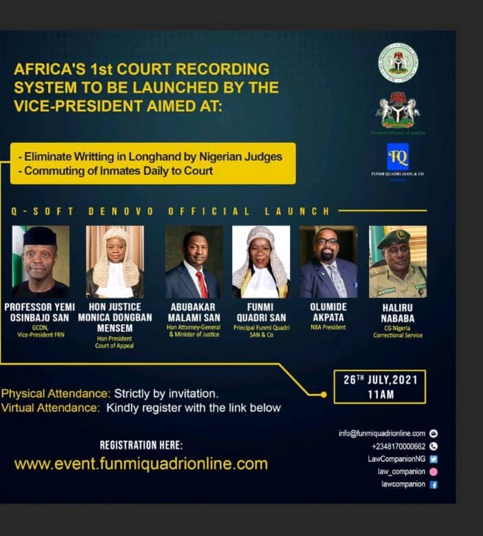 Osinbajo To Launch Africa's First Court Recording System