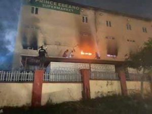 Ebeano Supermarket Fire: CCTV Captures A Lady Turning On A Gas Cooker (Video)