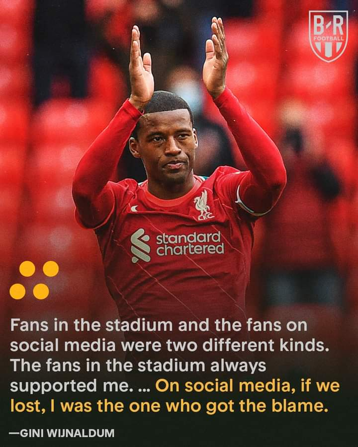 Gini Wijnaldum Calls Out Fans On Social Media After Leaving Liverpool.