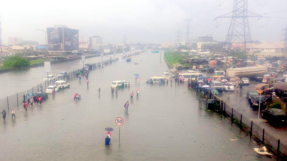 Commotion In Lagos As Flood, Fallen Trucks Cause Gridlock, Leaving Commuters Stranded