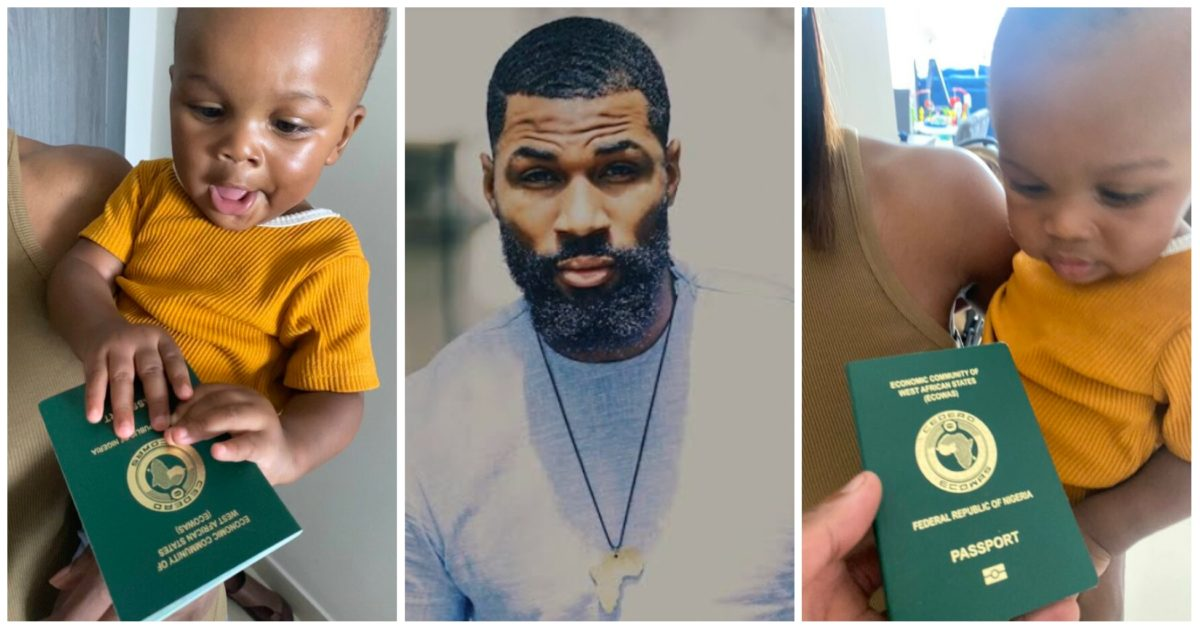 """""""He doesn't look impressed"""" – Fans react as Mike Edwards gives his British born son a Nigerian passport"""