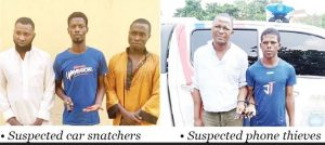 Photo Of Five Men Nabbed For Snatching Car, Corps Member's Phone At Gunpoint In Lagos