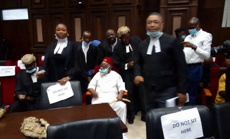 Ex-Anambra Governor Storms High Court for Nnamdi Kanu's Trial (Photos)