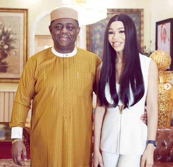 Love In The Air! Femi Fani-Kayode shows off his lover, Chika Nerita Clad In Stunning Dress