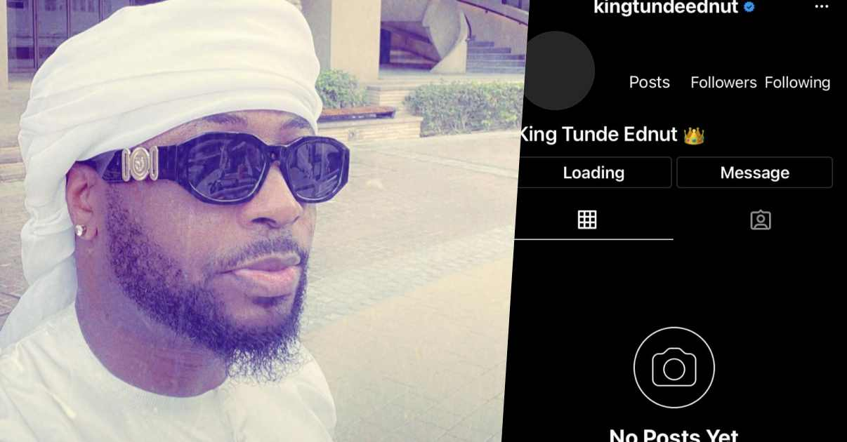 Instagram suspends Tunde Ednut's page for the umpteenth time
