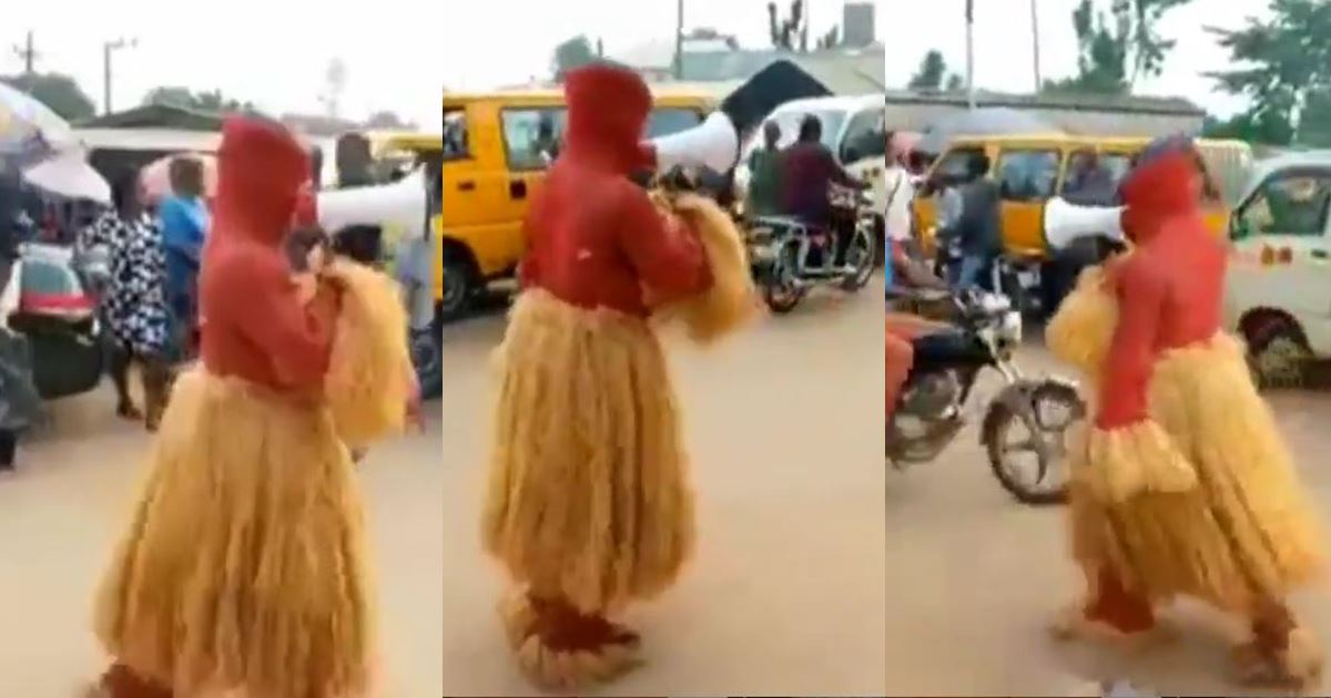 Moment masquerade was spotted preaching the gospel of Jesus Christ on the street (Video)