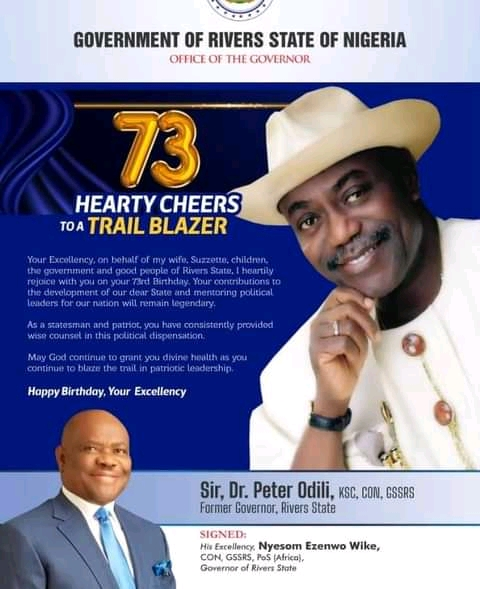 Wike Celebrates Peter Odili On His 73rd Birthday (Photo)