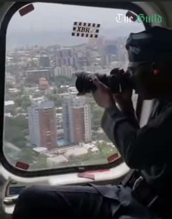 Governor Sanwo-Olu Taking Pictures Of Lagos From Helicopter (Photo)