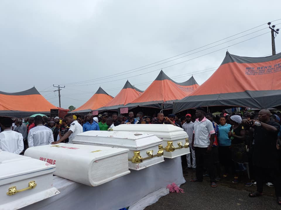 The Funeral Photos Of 7 Female Wedding Guests Who Died In Accident In Delta