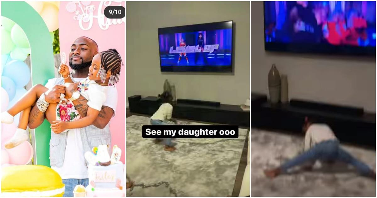 Davido screams in excitement as his daughter, Hailey twerks to Cardi B's song (Video)