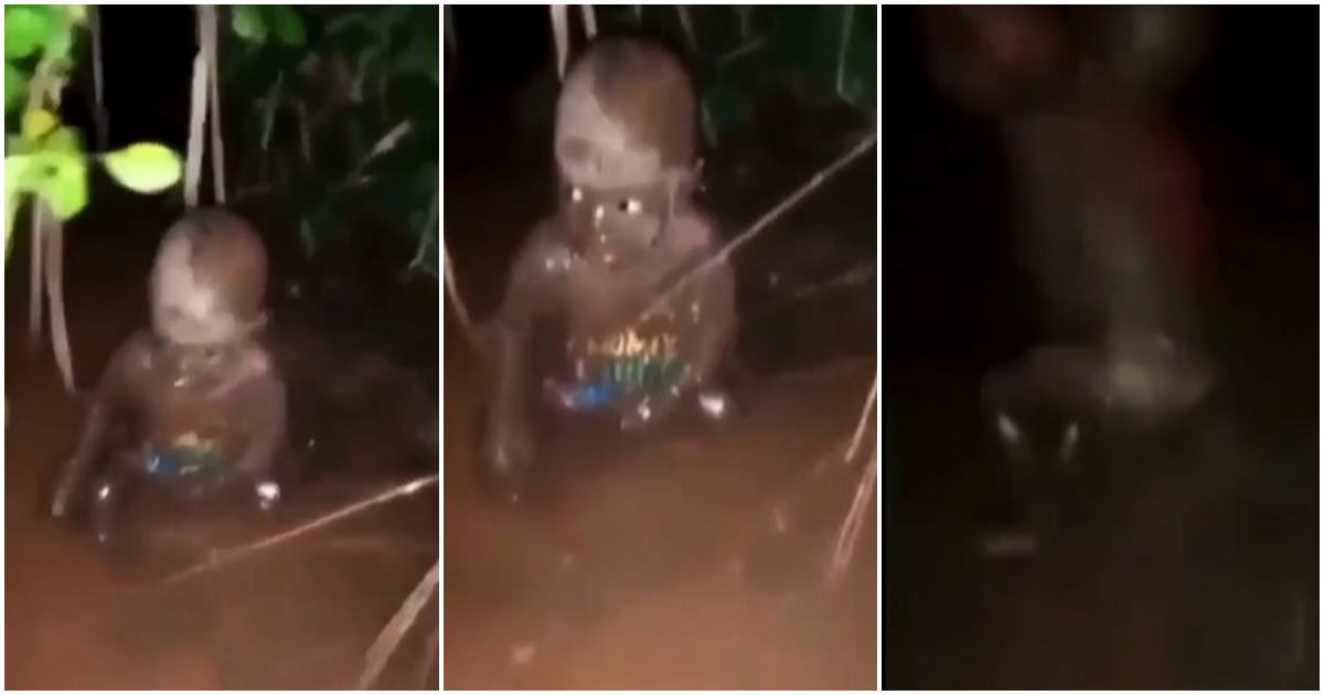 'People Are Evil' – Nigerians React As Residents Rescue Abandoned Baby In Muddy Water (VIDEO)