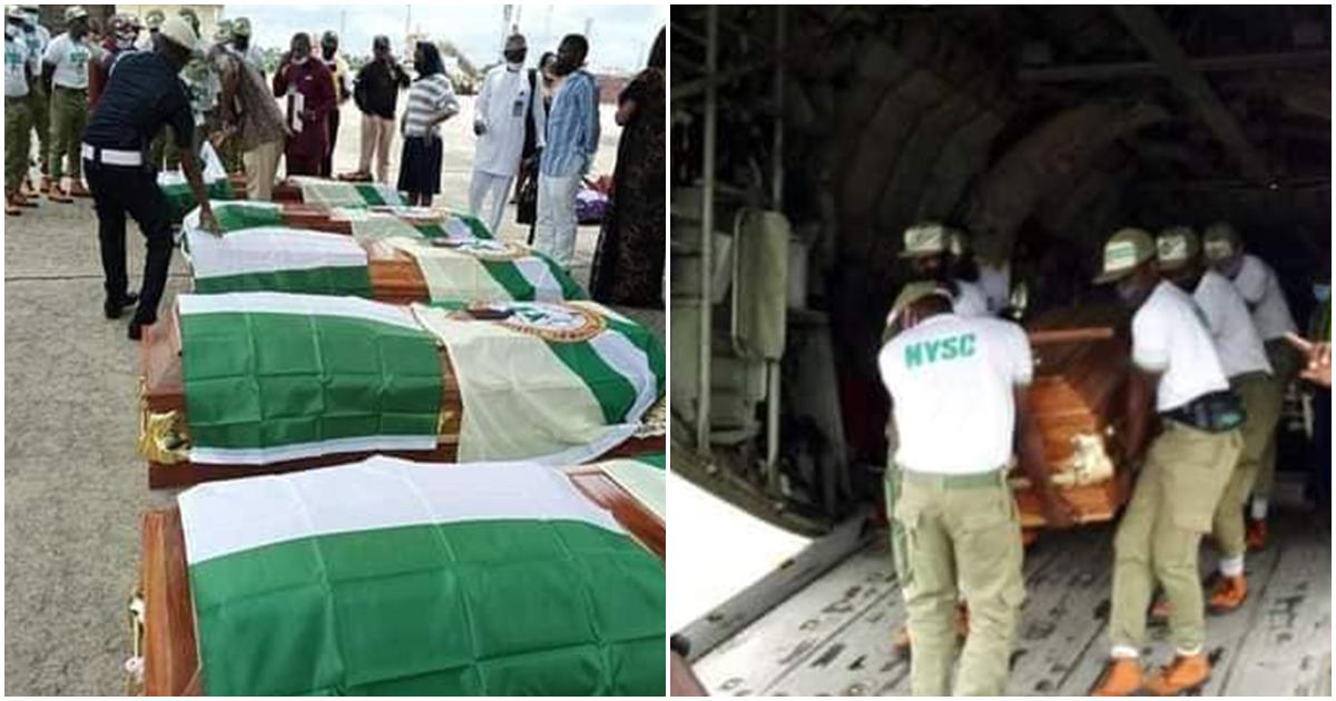 Bodies of 5 prospective Corp members killed in an auto crash on their way to NYSC Camp, flown back to Cross River for burial (Photos)