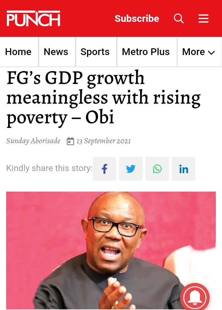 Peter Obi: FG's GDP Growth Meaningless With Rising Poverty