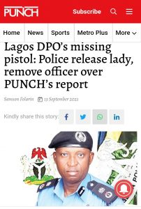 Lagos DPO's Missing Pistol: Police Release Lady, Removes DPO Over Punch's Report