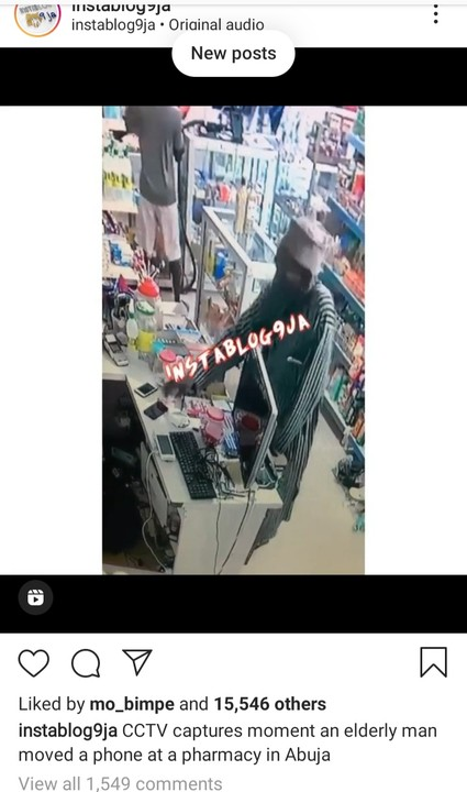 CCTV Captures Old Man Stealing Mobile Phone At A Pharmacy Store In Abuja