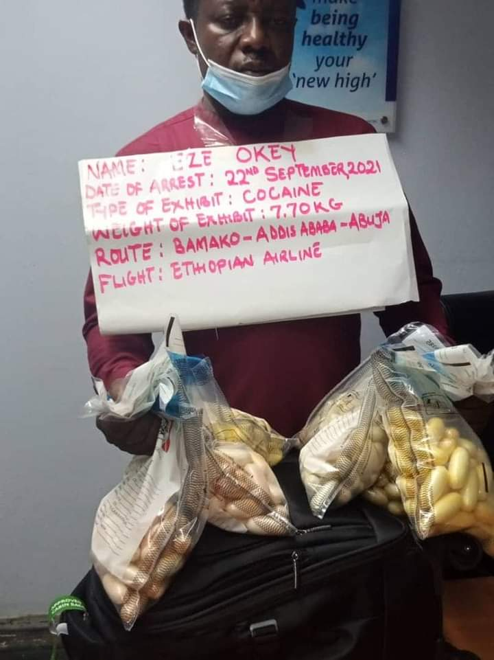 NDLEA Arrests Trafficker With N2.3b Cocaine At Abuja Airport