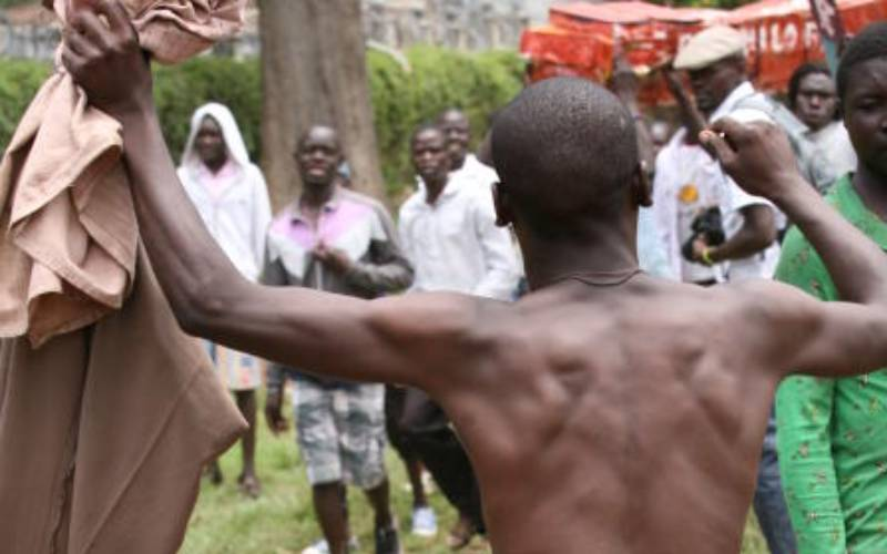 Drama As Woman Strips Late MOI's Deadbeat Grandson For Impregnating Her Twice And Jumping The Ship