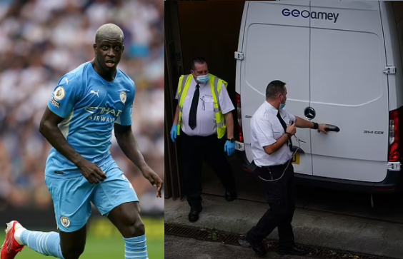 Footballer, Benjamin Mendy, 27, Arrives At Court In Police Van To Face Four Rape And One Sexual Assault Charge Against Three Different Women (Photos)