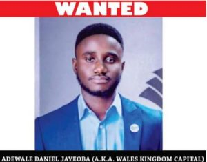 24-year-old Man Declared Wanted For N935m Investment Scam