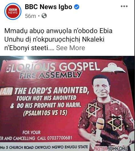 Tension As Police Stray Bullet Allegedly Kills Pastor During Morning Devotion In Ebonyi