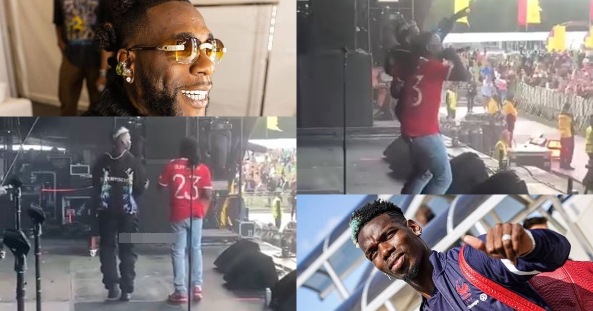 Moment Paul Pogba joins Burna Boy on stage at the Parklife music festival (Video)