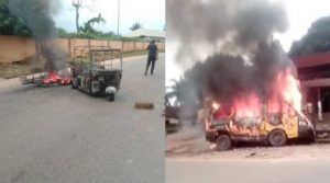 Sit-at-home: Suspected IPOB Members Set Passenger Bus, Tricycle On Fire In Anambra