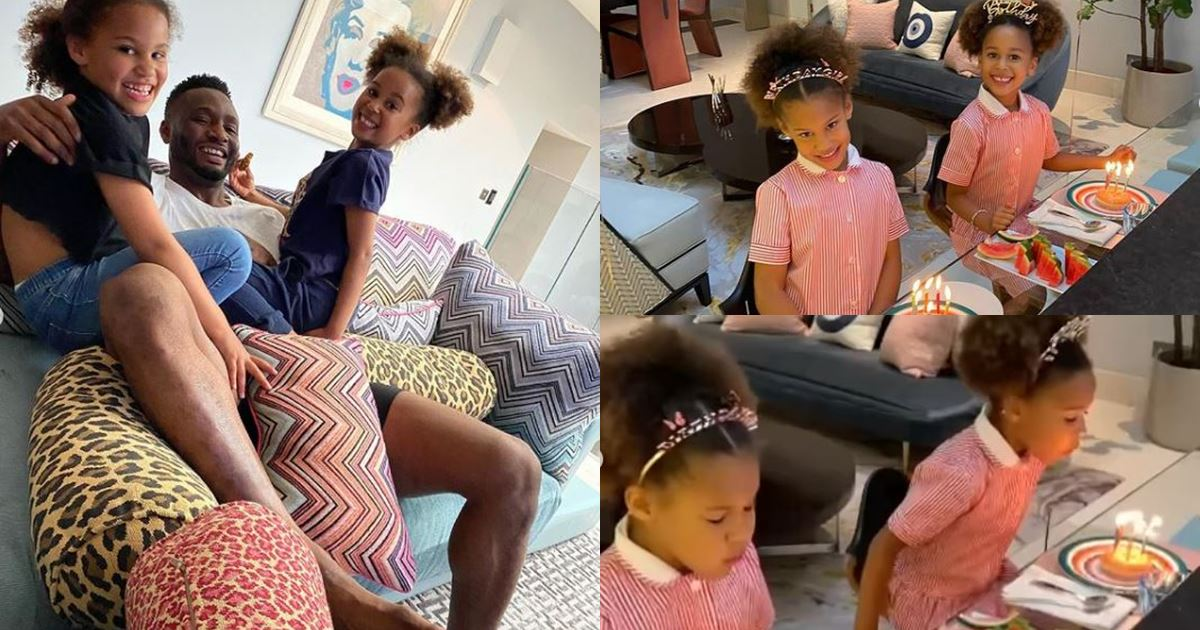 Footballer, Mikel Obi celebrates twin daughters on their 6th birthday (Video)